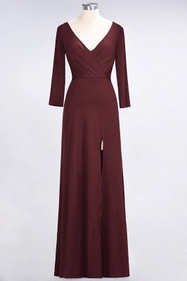 Spandex A-Line V-Neck Long-Sleeves Side-Slit Long Bridesmaid Dress with Ruffles_9
