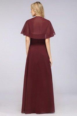 Chiffon Satin A-Line V-Neck short-sleeves Long Bridesmaid Dress_3
