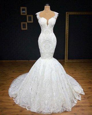 Wunderschöne Brautkleider Meerjungfrau Lang | Elegante Spitze Abendmode Weiße_1
