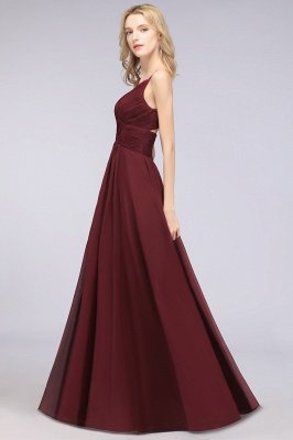 Chiffon A-Line Spaghetti-Straps V-Neck Sleeveless Long Bridesmaid Dress with Ruffles_38