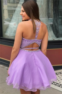 Purple Crystal Halter Sleeveless Two-Piece Home-Coming Dresses_2