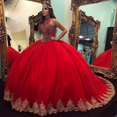 Exquisite High-Neck Perlen Ballkleid Quinceanera Kleider   Appliques Sweet 16 Kleider lang_1