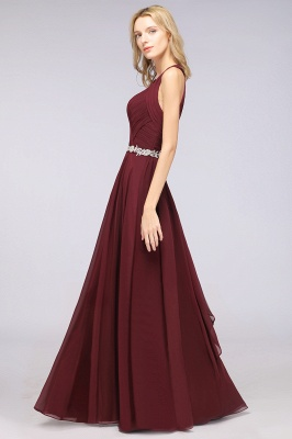 Chiffon A-Line Halter V-Neck Sleeveless Ruffle Long Bridesmaid Dress with Appliques Sashes_2