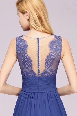 Eleganter Chiffon Lace Jewel Sleeveless bodenlangen A-Line Rüschen Brautjungfernkleid_9