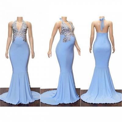 Schlichte Blaue Abendkleider Neckholder | Elegante Abendmode Schwangere_2