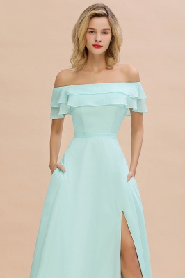 High Quality Off-the-Shoulder Front-Slit Mint Green Bridesmaid Dress_7
