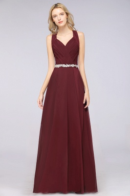 Chiffon A-Line Halter V-Neck Sleeveless Ruffle Long Bridesmaid Dress with Appliques Sashes_5