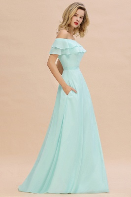 High Quality Off-the-Shoulder Front-Slit Mint Green Bridesmaid Dress_6