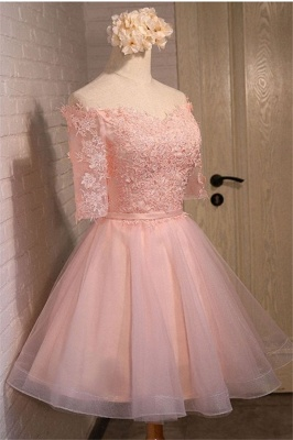 New Lace Appliques Off-the-shoulder Half Sleeve Short Homecoming Dress_4