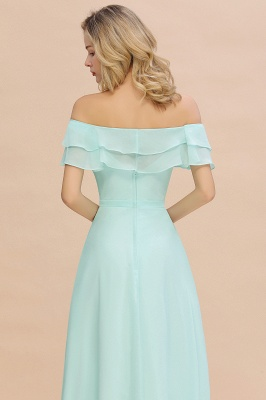 High Quality Off-the-Shoulder Front-Slit Mint Green Bridesmaid Dress_8