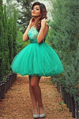 Newest Tulle Princess Short Green Homecoming Dress With Appliques_1