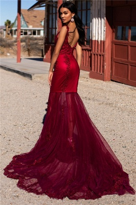 Burgundy Straps Appliques Tulle Mermaid Prom Dresses_2