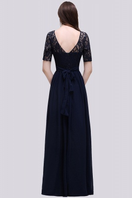 Custom Made A-line Chiffon Lace Scoop Half-Sleeve Floor-Length Bridesmaid Dress with Round back_2