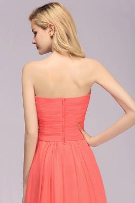 Simple Sweetheart Strapless Flower Watermelon Bridesmaid Dress_7