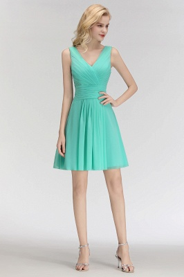 Mabel | Modest Ruffles Sexy V-Neck Sleeveless Short Bridesmaid Dress_4