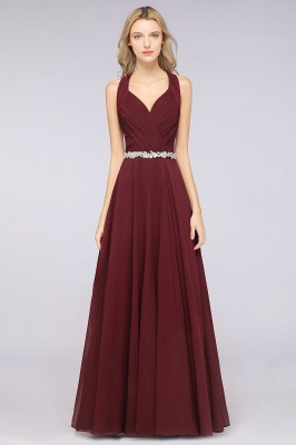 Chiffon A-Line Halter V-Neck Sleeveless Ruffle Long Bridesmaid Dress with Appliques Sashes_1