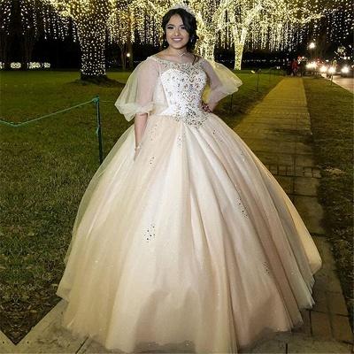 Robes de quinceanera robe de bal exquis bateau baguettes | Illusion Demi Manches Douces 16 Robes Longues_1