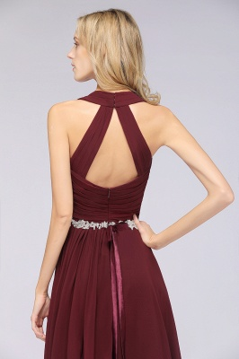 Chiffon A-Line Halter V-Neck Sleeveless Ruffle Long Bridesmaid Dress with Appliques Sashes_8