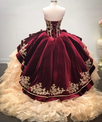 Cheap Sweetheart Embroidery Puffy 15 Dresses | Sleeveless Cascading Rruffles Quinceanera Dresses Cheap_2