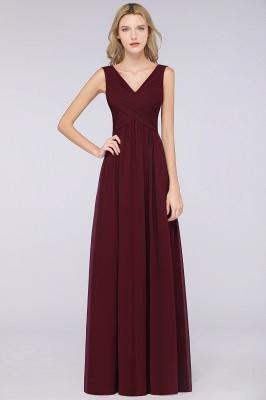 Chiffon A-Line Straps V-Neck Sleeveless Long Bridesmaid Dress with Ruffles_1