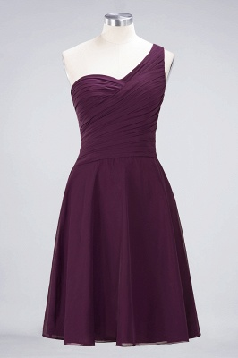 Chiffon A-Line One-Shoulder Sweetheart Sleeveless Short Bridesmaid Dress with Ruffles_19