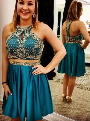 Two-Pieces Jewel Beading Appliques Short Homecoming Dress_1