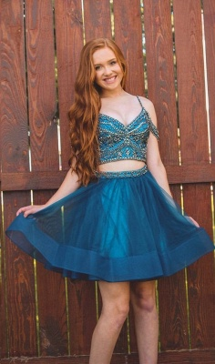 Illusion Organza Two-Pieces Beading Homecoming Dress_2