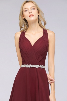 Chiffon A-Line Halter V-Neck Sleeveless Ruffle Long Bridesmaid Dress with Appliques Sashes_7