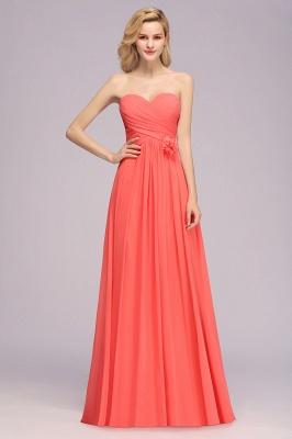 Simple Sweetheart Strapless Flower Watermelon Bridesmaid Dress_1