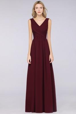 Chiffon A-Line Straps V-Neck Sleeveless Long Bridesmaid Dress with Ruffles_2