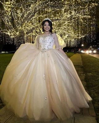Robes de quinceanera robe de bal exquis bateau baguettes | Illusion Demi Manches Douces 16 Robes Longues_2