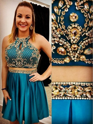 Two-Pieces Jewel Beading Appliques Short Homecoming Dress_2