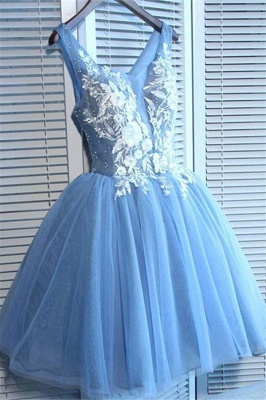 Gorgeous Blue Short Homecoming Dresses  V-Neck Lace-Up Hoco Dresses_2