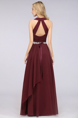 Chiffon A-Line Halter V-Neck Sleeveless Ruffle Long Bridesmaid Dress with Appliques Sashes_3