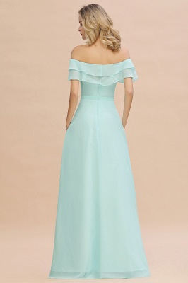High Quality Off-the-Shoulder Front-Slit Mint Green Bridesmaid Dress_2