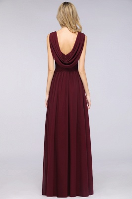 Chiffon A-Line Straps V-Neck Sleeveless Long Bridesmaid Dress with Ruffles_5