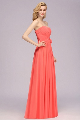 Simple Sweetheart Strapless Flower Watermelon Bridesmaid Dress_6