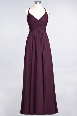 Chiffon A-Line Spaghetti-Straps V-Neck Sleeveless Long Bridesmaid Dress with Ruffles_19