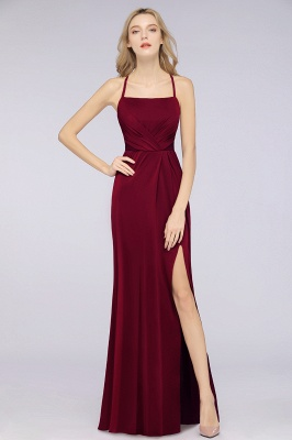 Spandex Lace Mermaid Spaghetti-Straps Sleeveless Long Bridesmaid Dress with Ruffle_31