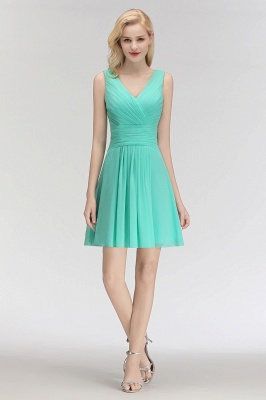 Mabel | Modest Ruffles Sexy V-Neck Sleeveless Short Bridesmaid Dress_3