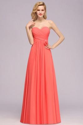 Simple Sweetheart Strapless Flower Watermelon Bridesmaid Dress_4