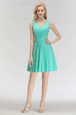 Mabel | Modest Ruffles Sexy V-Neck Sleeveless Short Bridesmaid Dress_5