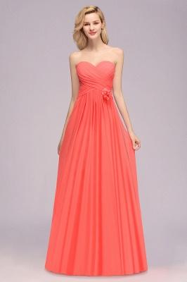 Simple Sweetheart Strapless Flower Watermelon Bridesmaid Dress_3