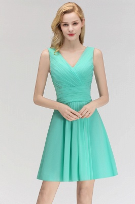 Mabel | Modest Ruffles Sexy V-Neck Sleeveless Short Bridesmaid Dress_1