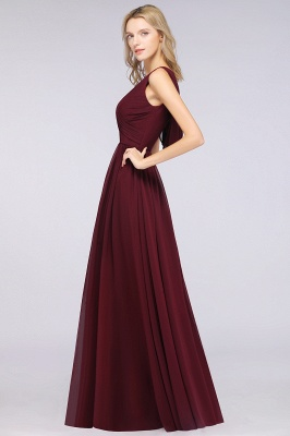 Chiffon A-Line Straps V-Neck Sleeveless Long Bridesmaid Dress with Ruffles_3