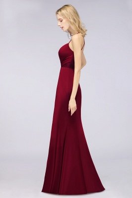 Spandex Lace Mermaid Spaghetti-Straps Sleeveless Long Bridesmaid Dress with Ruffle_35