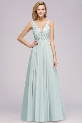 Sexy Chiffon Beaded Lace V-Neck Sleeveless Long  Bridesmaid Dress Cheap Online