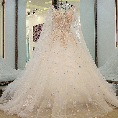 Tulle Straps Appliques Long Quinceanera Dress