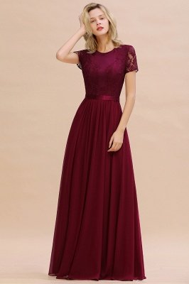 Retro Chiffon Lace Scoop Short-Sleeves Cheap Online Bridesmaid Dress