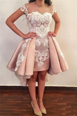 Trendy Jewel Cap-Sleeve Short Pink Cocktail Party Dresses_1